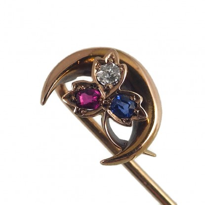 Antique 14k Crescent Moon Shamrock Clover Stick Pin with Ruby Diamond Sapphire