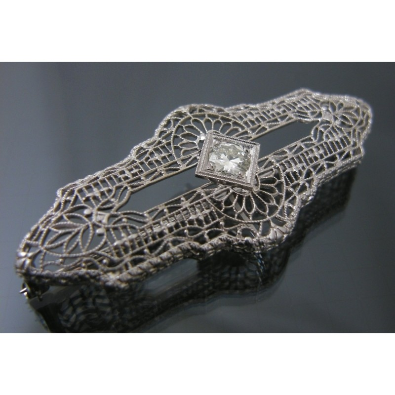Antique Art Deco Diamond Filigree 14k And Platinum Pin Brooch