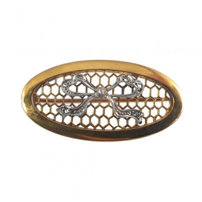 Oval Honeycomb Antique 18k Gold Pin with Rose Cut Diamond Bow