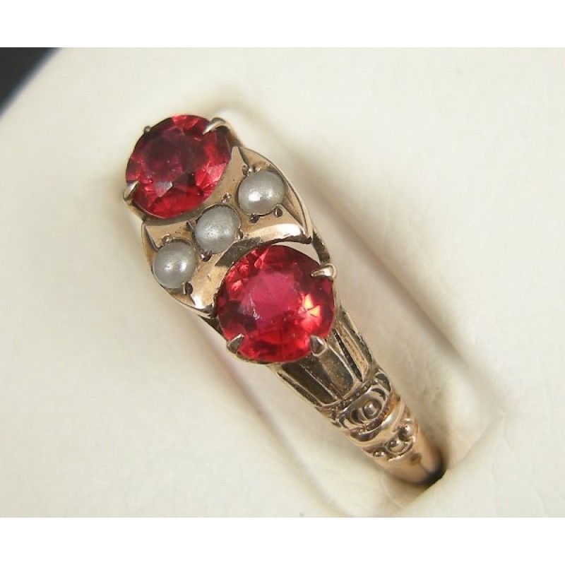 Antique Victorian 10k Rose Gold Garnet Paste Seed Pearl Ring