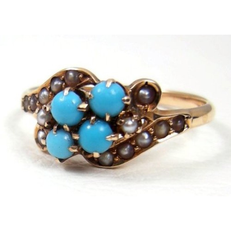 Persian Turquoise Amp Seed Pearl 10k Yellow Gold Antique