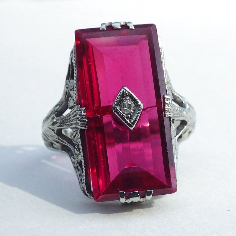 Large Emerald Cut 14k White Gold Ruby Diamond Filigree