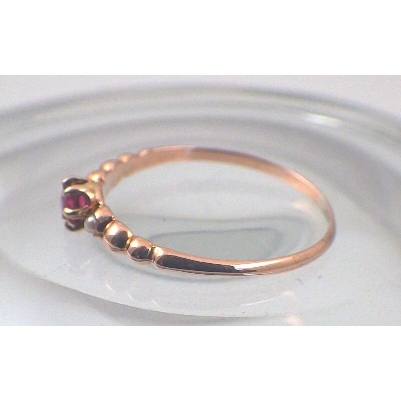 Dainty Antique Victorian 10k Rose Gold Beaded Seed Pearl Ring