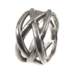 Tiffany & Co Pre-Owned Sterling Silver Braided Weave Knot Ring Sz 6