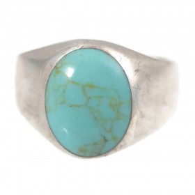 Vintage Sterling Silver & Oval Cabochon Turquoise Ring Mexico Size 11.5
