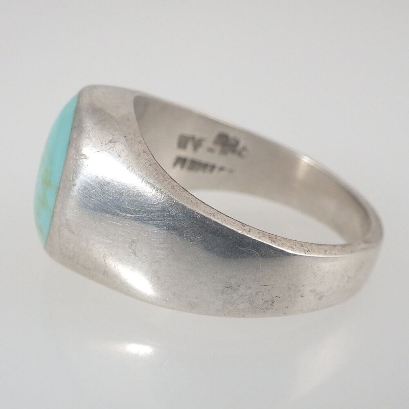 Vintage Sterling Silver Amp Oval Cabochon Turquoise Ring