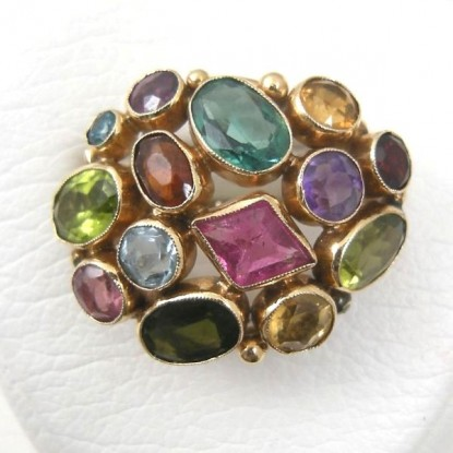 Colorful Multi-Gemstone 14k Gold Dome-Style Cocktail Ring