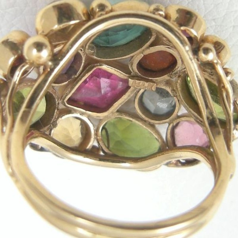 Colorful Multi Gemstone 14k Gold Dome Style Cocktail Ring