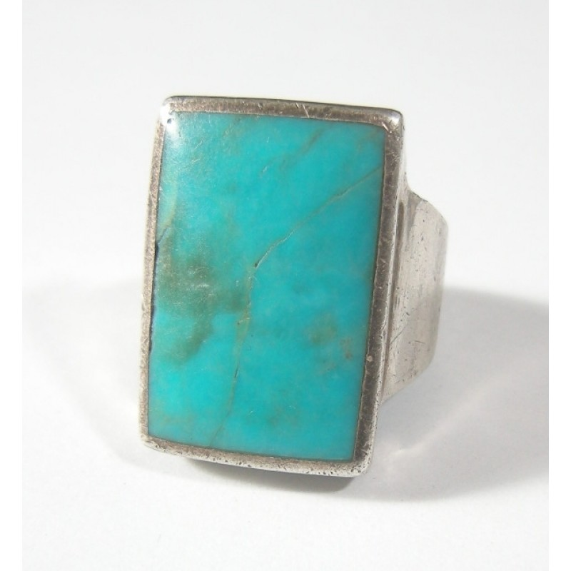 Vintage Rectangular Turquoise Sterling Silver Ring