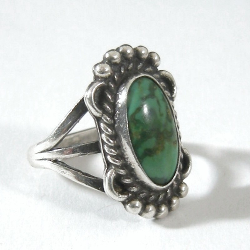 Southwestern Sterling Silver Oval Turquoise Ring Size 6 5