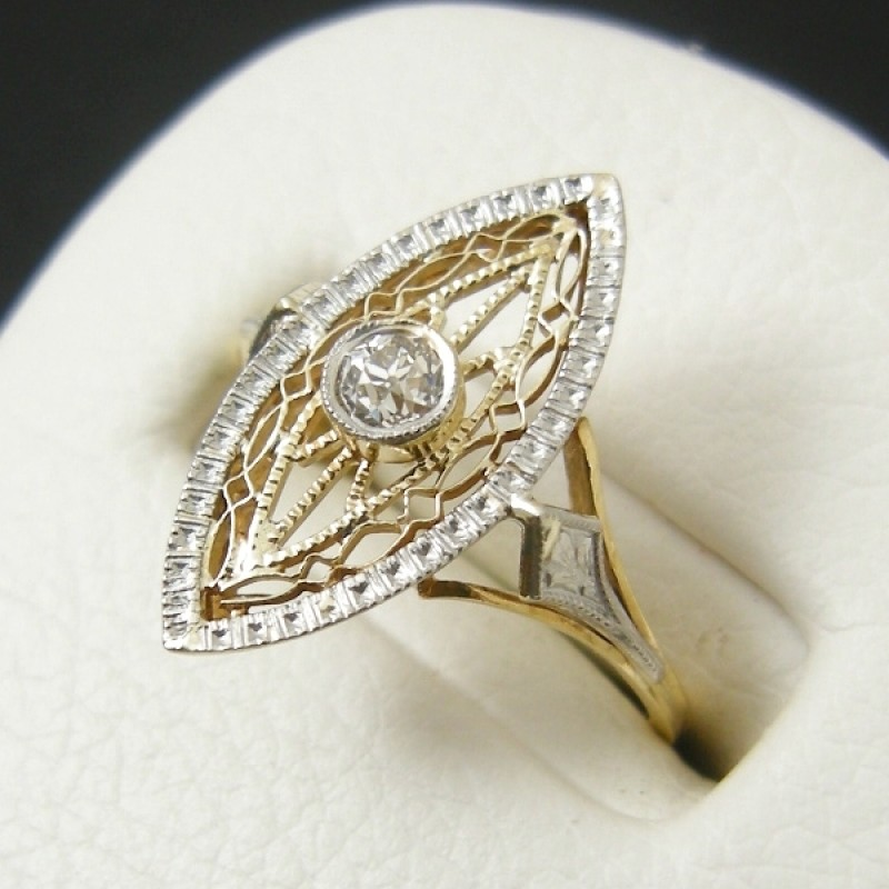 twotone art deco 14k filigree diamond marquiseshaped