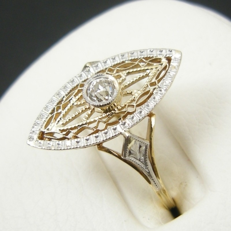 two tone deco 14k filigree marquise shaped