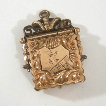 Ornate Chased Repousse GF Square Victorian Watch Fob Locket