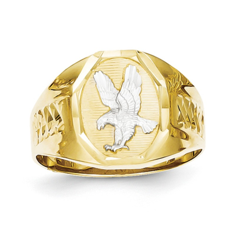 10k Gold And Rhodium Men S Eagle Ring