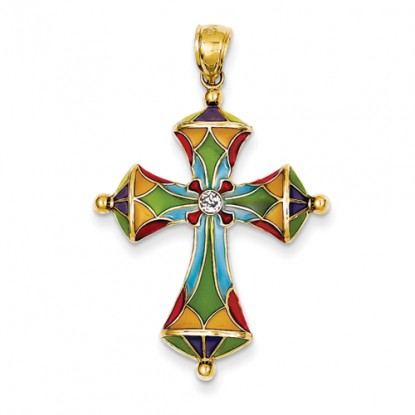 14K Yellow Gold Multi-Color Acrylic Cross Pendant