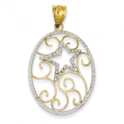 Oval Star and Scrolls 14K and Rhodium Pendant