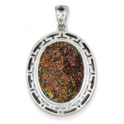 Oval Multi-Colored Druzy Sterling Silver Pendant