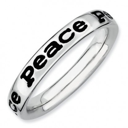 Enameled Peace Sterling Silver Stackable Expressions Ring