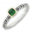 Sterling Silver & 14k Stackable Expressions Checker-Cut Emerald Ring