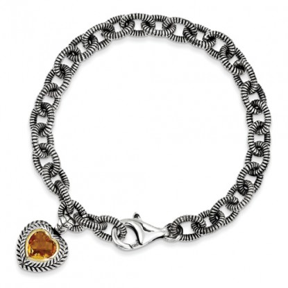 Sterling Silver Citrine Heart Charm Bracelet with 14k Accent