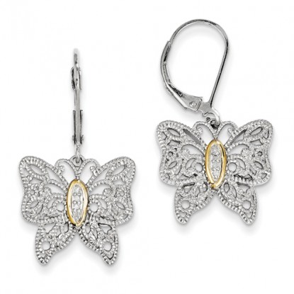 Filigree Sterling Silver Butterfly Diamond Earrings 14k Accent
