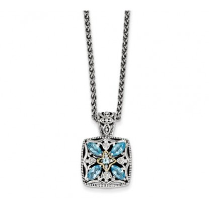 Blue Topaz Marquise w/ 14k Diamond Sterling Silver Necklace