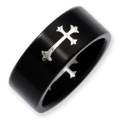 Black IP-Plated Polished Stainless Steel Cross Band