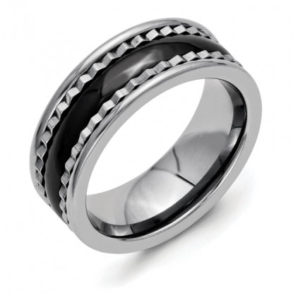 Titanium Sawtooth Band Polished Black Ceramic Center