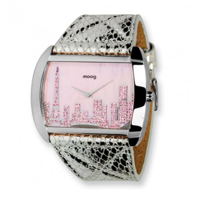 Pink MOP Silver Leather Paris Skyline French Moog Fashionista Ladies Watch