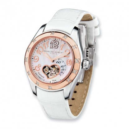 Rose Heart Charles Hubert Diamond Bezel Automatic Watch