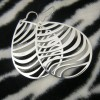 Large Teardrop Zebra Stripe Cutout Sterling Silver Earrings