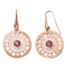 Rose Gold Sterling Silver Circle Web Dangle Disc Earrings
