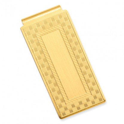 Gold-Plated Checkerboard Hinged Money Clip