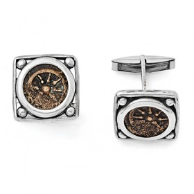 Widows Mite Coin Cufflinks in Sterling Silver & Antiqued Bronze