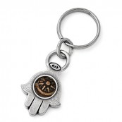 Widows Mite Hamsa Coin Key Ring in Antiqued Bronze & Sterling Silver