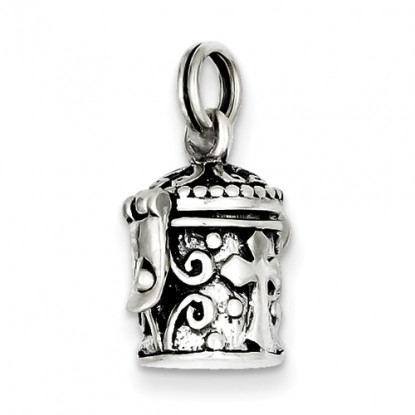Antiqued Sterling Silver Cross Prayer Canister Box Charm Pendant