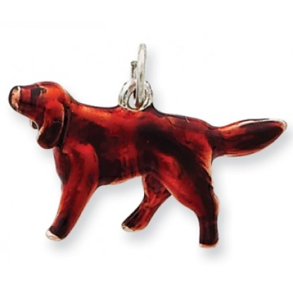 Irish Setter Sterling Silver Enameled Charm