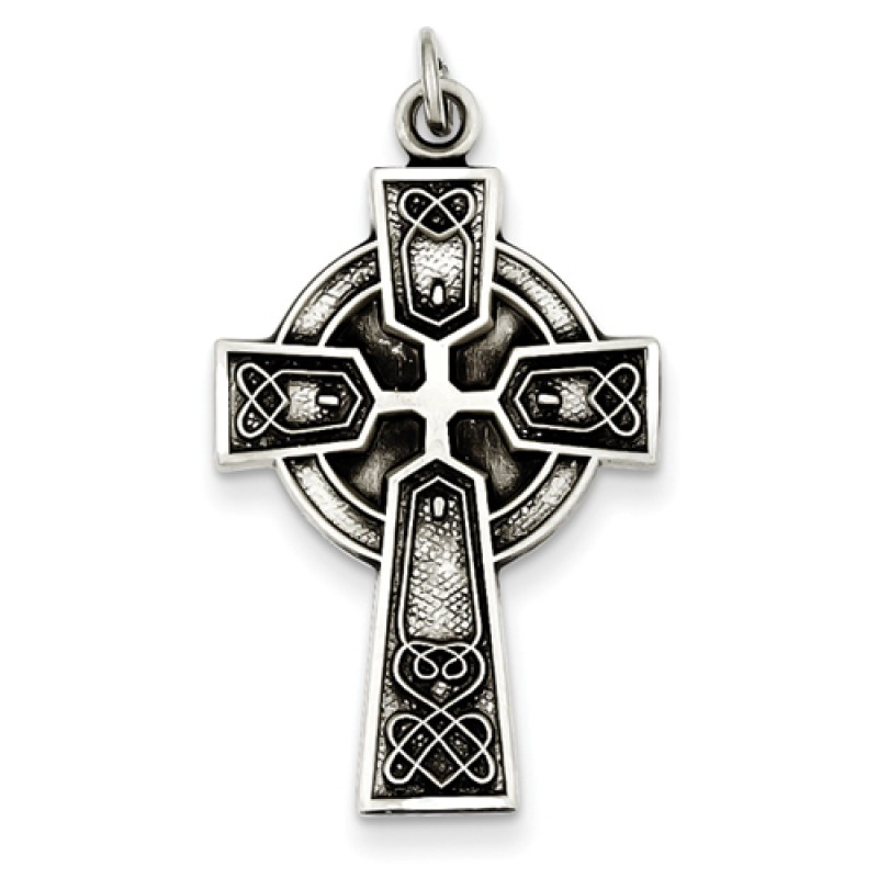 antiqued sterling celtic with large bwq bead cross silver gold necklace pendant