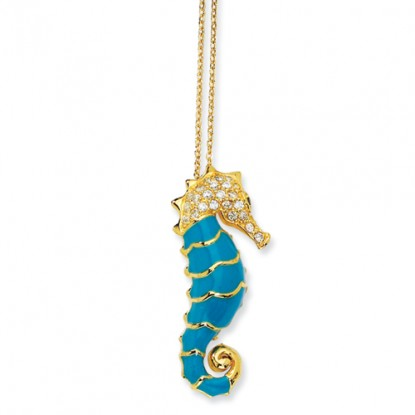 Gold-Plated Sterling Silver Turquoise Enameled CZ Seahorse Necklace
