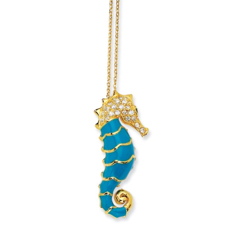 Gold plated sterling silver turquoise enameled cz seahorse necklace aloadofball Image collections