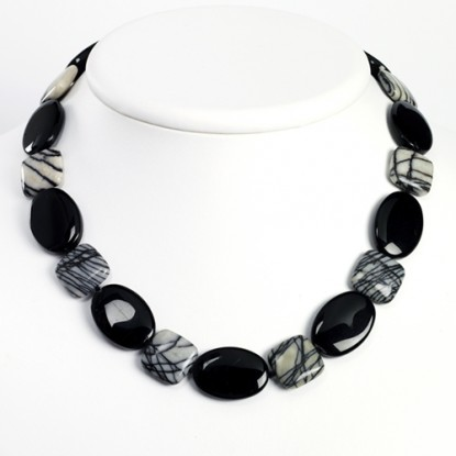 Black Agate & Zebra Jasper Necklace