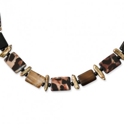 Mother of Pearl, Freshwater Cultured Pearl, Agate Sterling Silver Necklace
