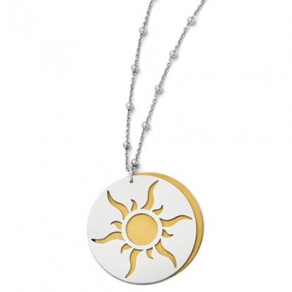 Radiating Sun Sterling Silver 14K GP Pendant Necklace