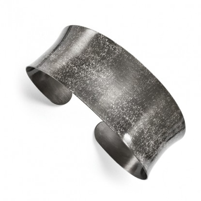 Leslie's Concave Ruthenium-Plated Scratch Finish Sterling Silver Cuff Bangle
