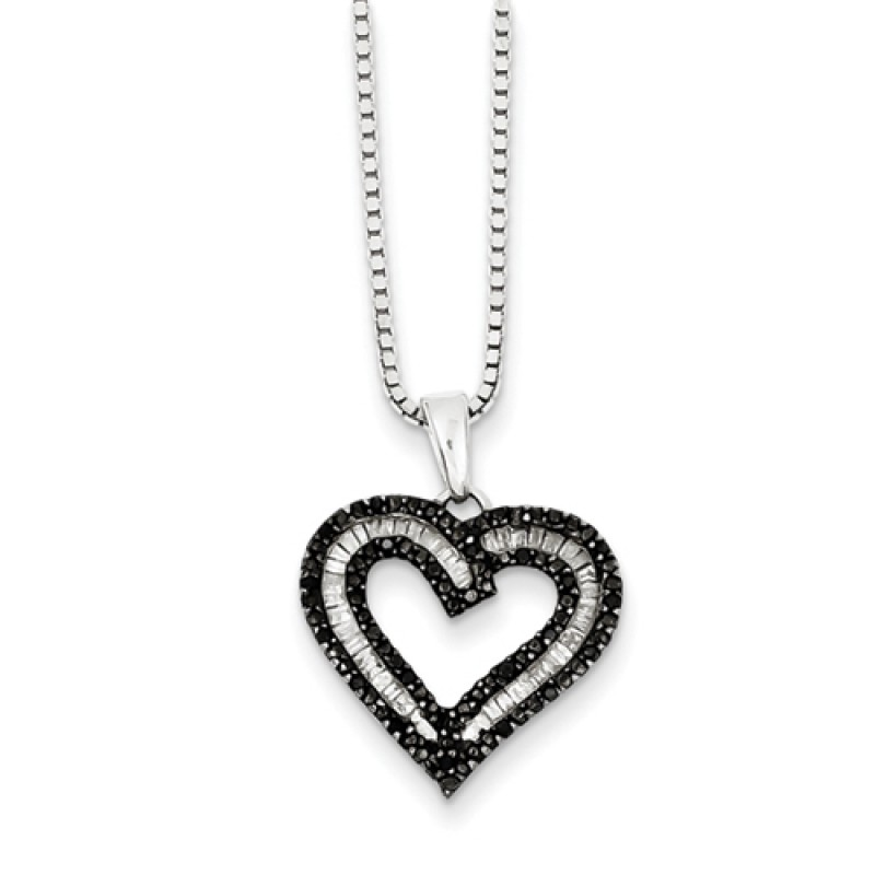 Sterling Silver White Baguette and Black Diamond Heart ...