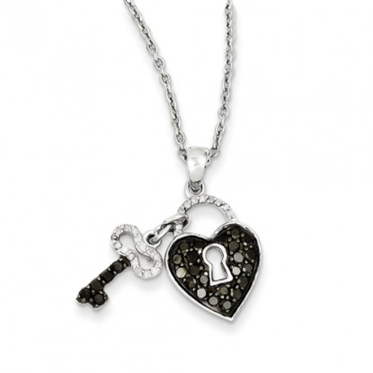 Black & White Diamond Sterling Silver Heart and Key Pendant Necklace