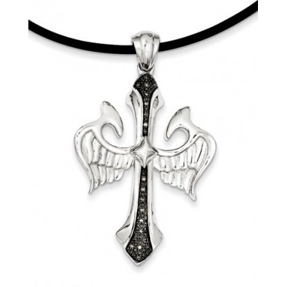 Black Diamond Sterling Silver Cross & Wings Men's Pendant Necklace