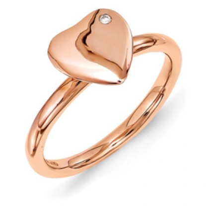 Rose Gold Plated Heart Sterling Silver Stackable Ring with Diamond Accent