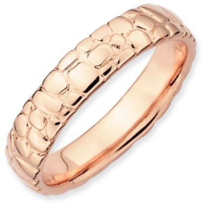 Pink Cobblestone 18k GP Sterling Silver Stackable Expressions Ring