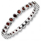 Round Garnet Sterling Silver Stackable Expressions Ring Eternity Band